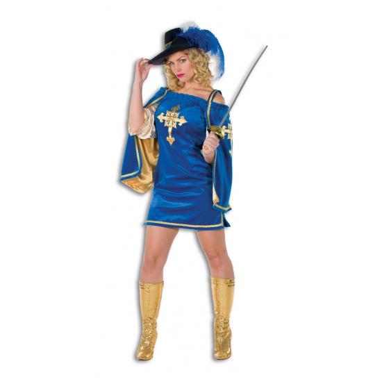 Verkleedkleding Blauw musketiers jurkje voor dames