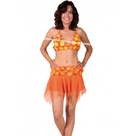 Verkleedkleding Oranje Hawaii rok en bikini
