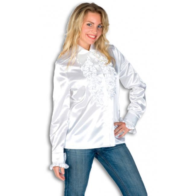 Verkleedkleding Rouches blouse wit dames
