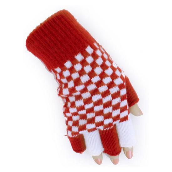Vingerloze handschoen rood/wit geblokt Branbant thema