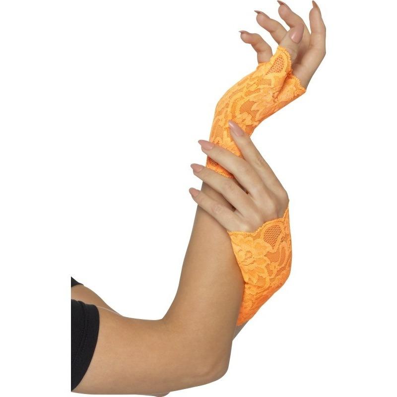 Vingerloze neon oranje handschoenen van kant