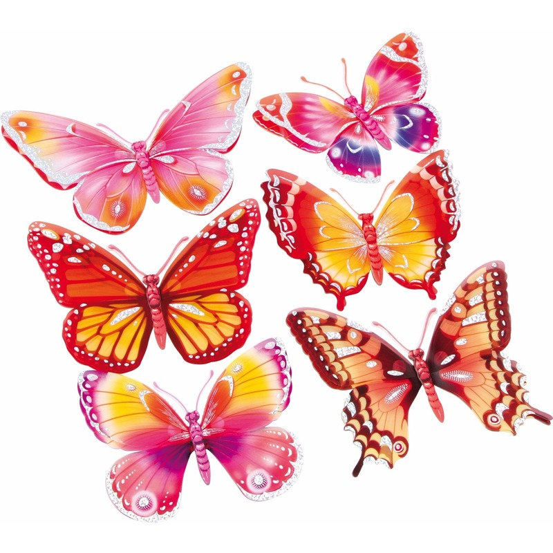 Vlinder stickers set roze/oranje 3D