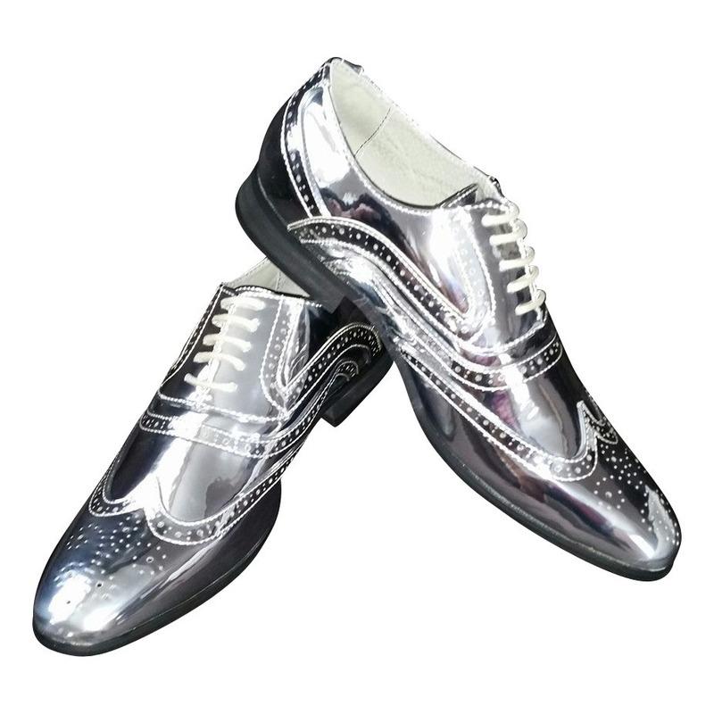 Zilveren glimmende brogues/disco schoenen voor heren