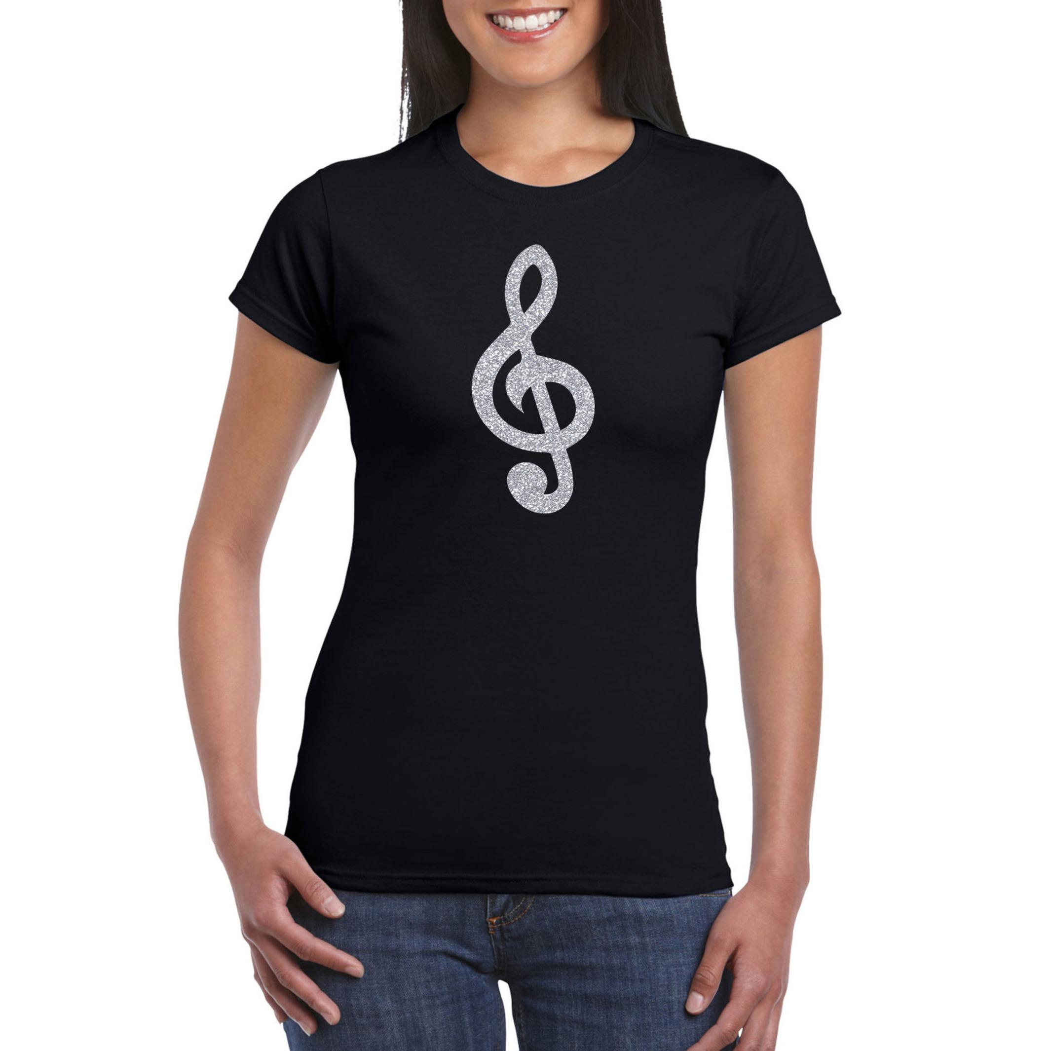 Zilveren muziek noot G-sleutel - muziek feest t-shirt - kleding zwart dames