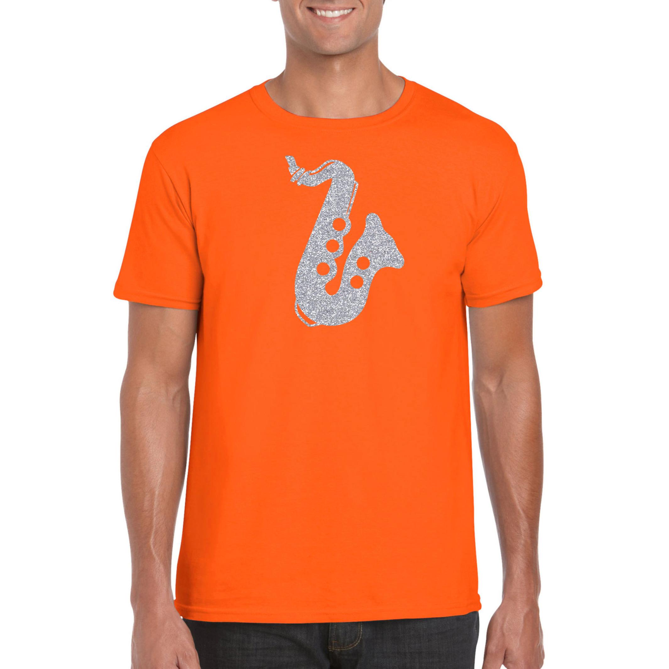 Zilveren saxofoon - muziek t-shirt - kleding oranje heren