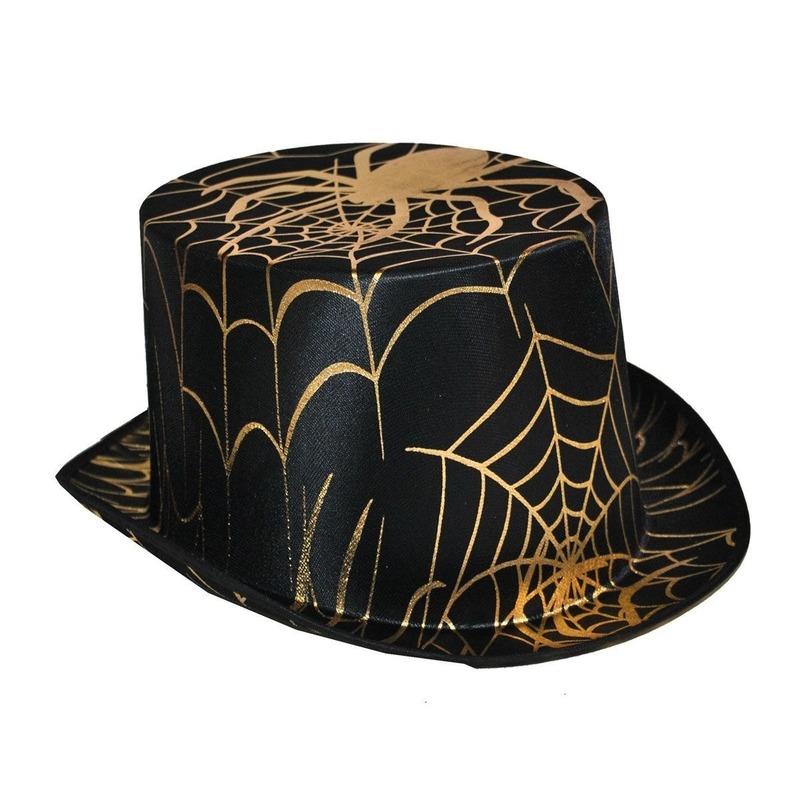 Zwart/ gouden hoge hoed met gouden spin
